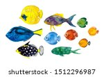 Watercolor Colors Fish On The...