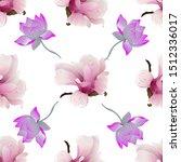 pink magnolia. purple lotus.... | Shutterstock . vector #1512336017