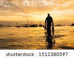 Silhouette Of Sword Fish And...