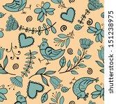 flower  hearts  birds seamless | Shutterstock .eps vector #151238975