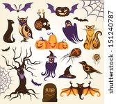 set of halloween decorative... | Shutterstock .eps vector #151240787