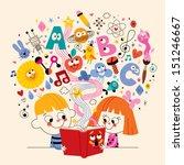 cute kids reading book... | Shutterstock .eps vector #151246667