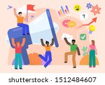group of people stand near big... | Shutterstock .eps vector #1512484607