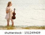 the blonde girl music lover on... | Shutterstock . vector #151249409