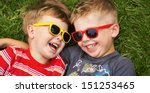 smiling brothers | Shutterstock . vector #151253465