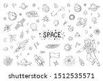 doodle space. trendy universe... | Shutterstock . vector #1512535571