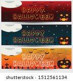set of three halloween banners | Shutterstock .eps vector #1512561134