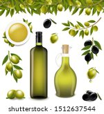 big set with branch olives and... | Shutterstock .eps vector #1512637544