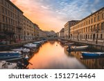 Small photo of Long exposure of Canal Grande of Trieste, Italy in wonderful sunrise