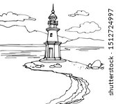 lighthouse vintage tower on the ...   Shutterstock .eps vector #1512724997