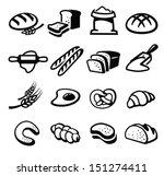 vector black bread icon set on...