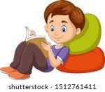 cartoon boy reading a book | Shutterstock .eps vector #1512761411