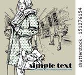 pretty autumnal fashion girl in ... | Shutterstock .eps vector #151276154