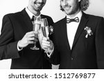 happy gay couple with champagne ...   Shutterstock . vector #1512769877