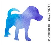 Stock vector white background blue watercolor silhouette of a dog standing 1512778754
