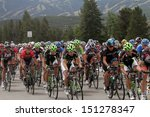 Small photo of Breckenridge, CO, USA- August 21, 2013. The USA Pro Challenge Bike Race, Third Stage, gets underway in Breckenridge, CO as the bikers jockey for position in the peloton.