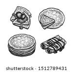 french crepes or russian blinis ... | Shutterstock .eps vector #1512789431