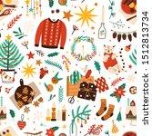 christmas symbols flat vector...   Shutterstock .eps vector #1512813734