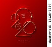 golden 2020 new year logo.... | Shutterstock .eps vector #1512848984