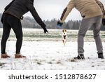 Stock photo walk with the dog on winter season with snow couple calling the running dog 1512878627