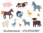 Vector Set Of Farm Animals  Co...