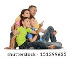 happy smiling family isolated... | Shutterstock . vector #151299635