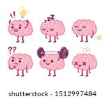 funny cartoon brain character... | Shutterstock .eps vector #1512997484
