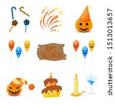 halloween set with traditional... | Shutterstock .eps vector #1513013657
