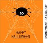 cute cartoon spider on the web. ... | Shutterstock .eps vector #151303739