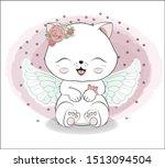 Stock vector lovely cute white angel kitten little kitten happy birthday greeting card 1513094504
