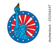 Liberty Statue Badge  Icon On...