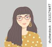 portrait of a brunette girl... | Shutterstock .eps vector #1513174697