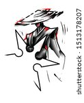graphic of japanese samurai... | Shutterstock . vector #1513178207
