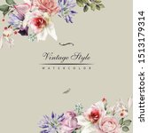 greeting card with roses ... | Shutterstock . vector #1513179314