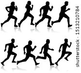 set of silhouettes. runners on... | Shutterstock .eps vector #1513210784