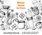 hot drinks. mulled wine  winter ... | Shutterstock .eps vector #1513212227