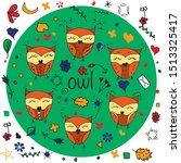 vector line hand drawn owl.... | Shutterstock .eps vector #1513325417