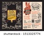 bagel and sandwich menu... | Shutterstock .eps vector #1513325774