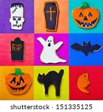 halloween cookies on a colored... | Shutterstock . vector #151335125