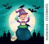 halloween dark scene with kid... | Shutterstock .eps vector #1513386431