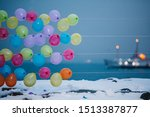 rows of colorful balloons at... | Shutterstock . vector #1513387877