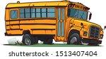 Old Broken School Bus. Cartoon...