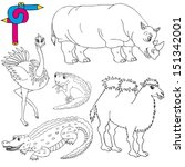 coloring image wild animals 02  ... | Shutterstock .eps vector #151342001