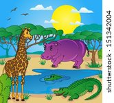african landscape with animals... | Shutterstock .eps vector #151342004