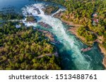 Aerial View Of The Khone Falls...