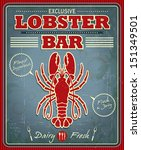 Vintage Lobster Bar Poster...