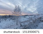 Winter Sunset In The Forest In...