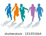 silhouettes of elementary... | Shutterstock .eps vector #151351064