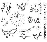 hand drawn set elements doodle... | Shutterstock .eps vector #1513515941
