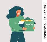 volunteer woman holds donation...   Shutterstock .eps vector #1513520501